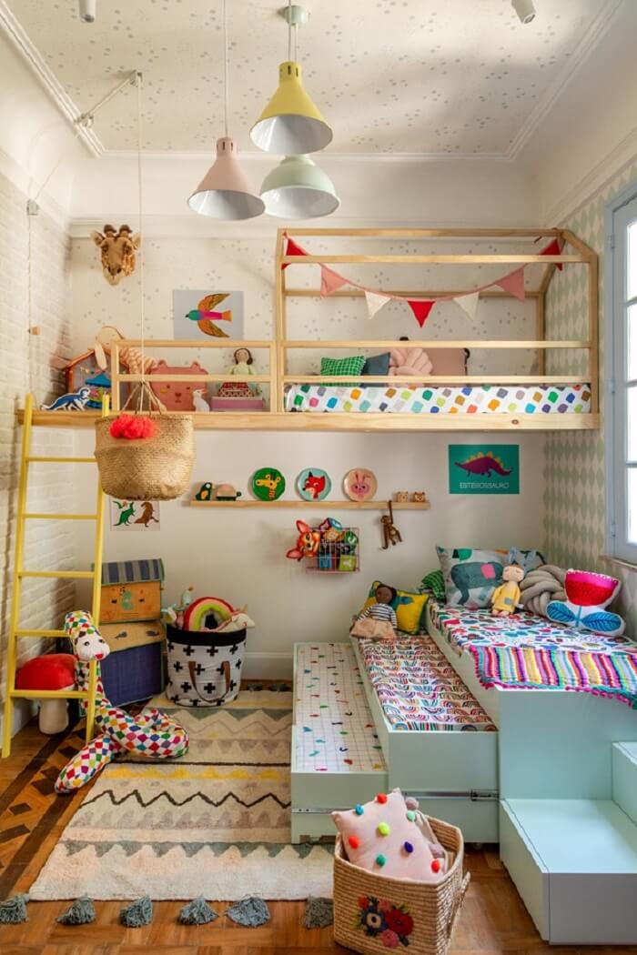 A cama multifuncional do tipo tricama é perfeita para o quarto infantil. Fonte: Mooui