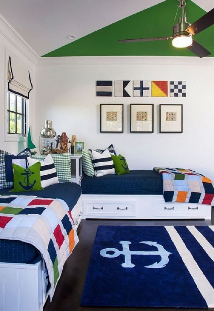 Cama solteiro multifuncional com gavetas para quarto compartilhado. Fonte: Revista Viva Decora