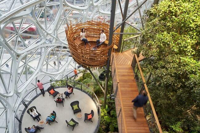 Design biofílico: As esferas da Amazon promovem momentos de relaxamento dos funcionários. Foto: Bruce Damonte