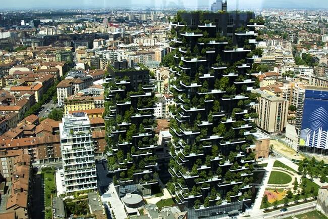 Design biofílico: Bosco Verticale em Milão - Itália. Fonte: Condomínios Verdes