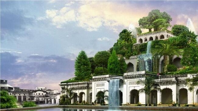 Design biofílico: Ilustração que retrata os famosos Jardins Suspensos da Babilônia. Fonte: UOL
