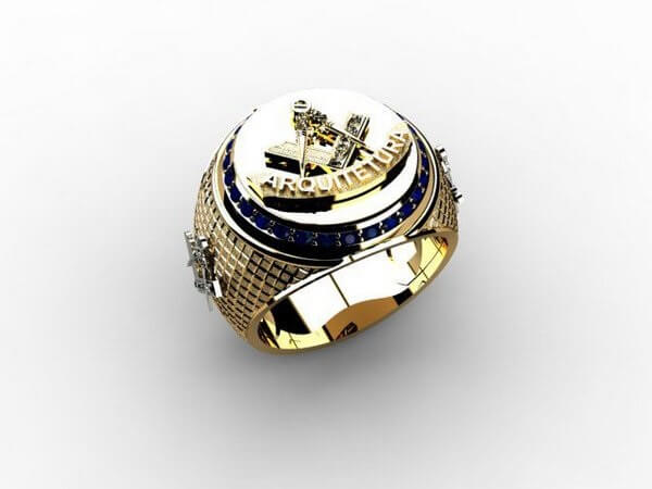 Modelo de anel masculino com símbolo da arquitetura. Fonte: Rubia Colonial Joias