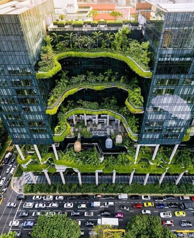 O Parkroyal é um clássico da arquitetura sustentável e da aplicação do design biofílico. Fonte: Pinterest