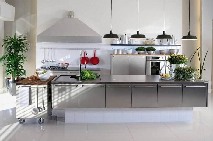 Oaço inoxidável é muito usada nos estilos de cozinhas modernas. Fonte Pinterest