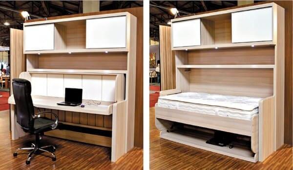Camas multifuncionais para apartamentos pequenos: cama de solteiro que se transforma em cama (foto: Gazeta do Povo)
