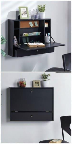 Móveis multifuncionais: mesinha de home office dobrável (foto: Pinterest)