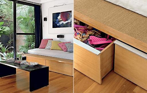 Móveis multifuncionais: sofá-cama com gaveta (foto: Fernandes & Fernandes)