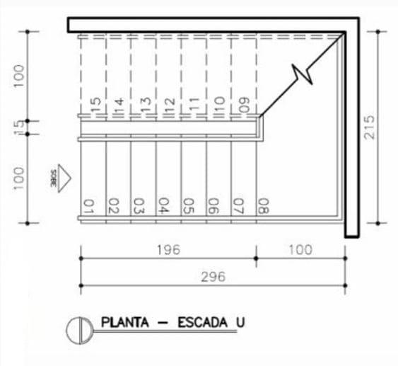 Planta de Escada em U (foto: AutoCAD Expert)