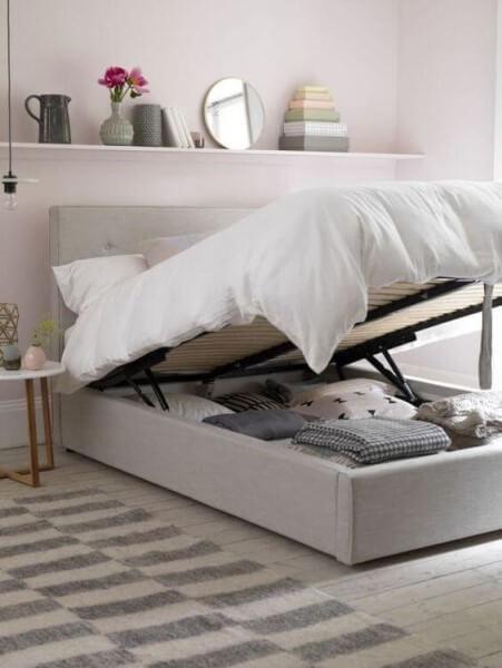 Tipos de camas: cama box baú casal (foto: Pinterest)
