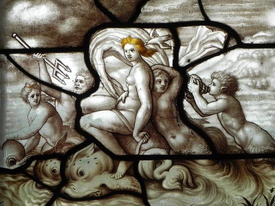 Vitrais: vitral renascentista de tema mitológico na Galeria de Psiquê (foto: Artrianon)