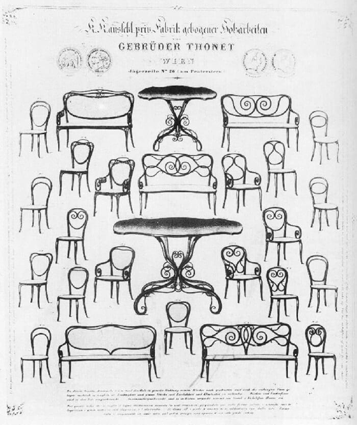 A criação da cadeira thonet serviu de inspiração para os móveis de metal. Fonte: Casa de Valentina