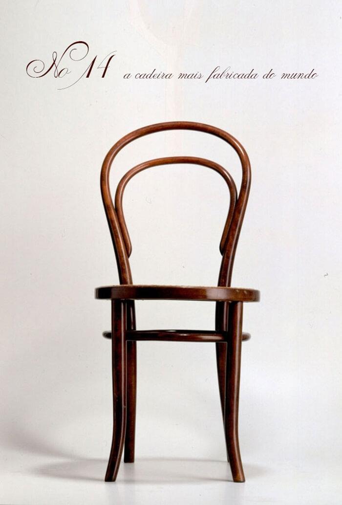A cadeira thonet 14 é a cadeira mais fabricada no mundo. Fonte: Pinterest