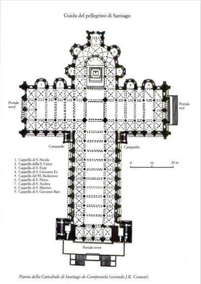 Arquitetura românica: planta da Igreja de Santiago de Compostela no formato de cruz latina (foto: Arquitetura e o Sagrado)
