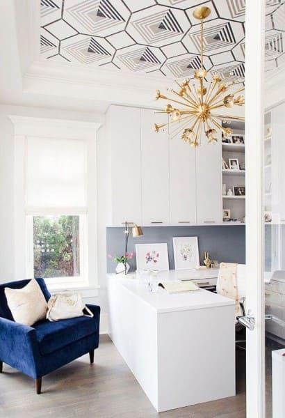 Papel de parede para teto em home office (foto: Decor Fácil)