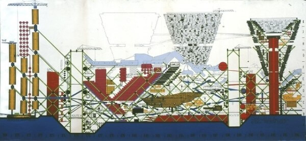 Archigram: The Plug-in City - Peter Cook (1964) (foto: Archdaily)