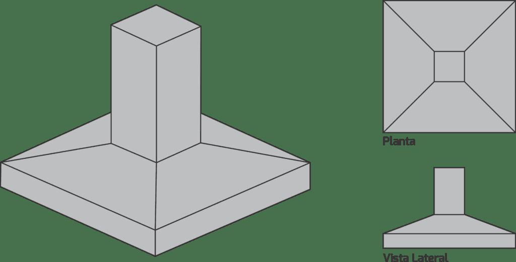 Sapata isolada: perspectiva - planta - vista lateral (foto: utilizandobim)