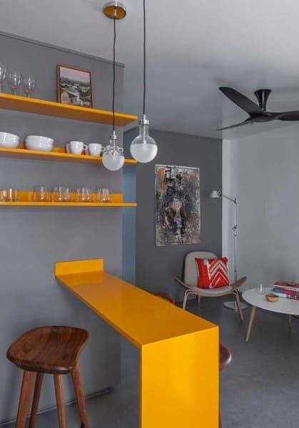 Marmoglass em bancada de cozinha americana (foto: Decor Fácil)