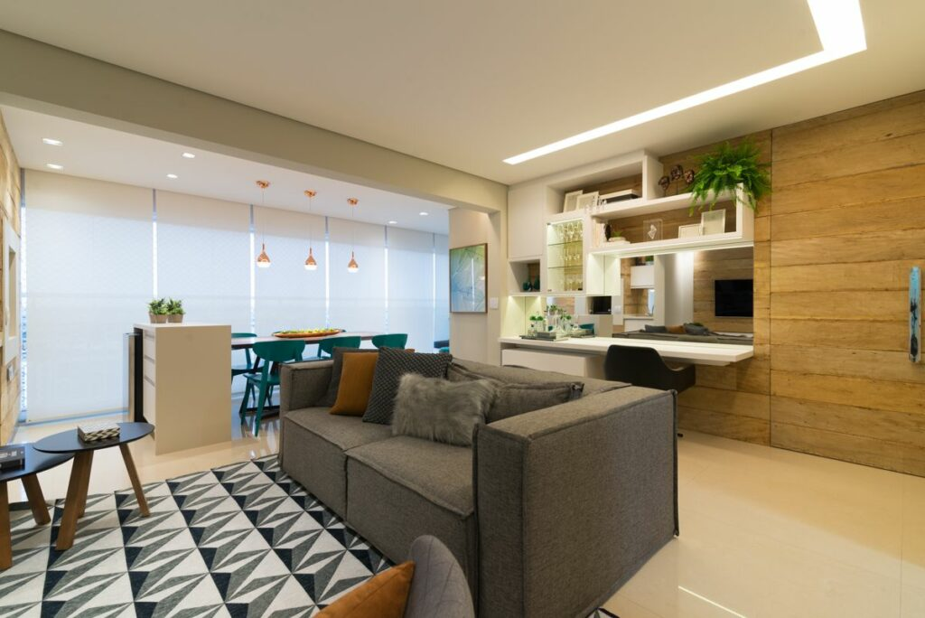 Planta de forro e iluminação sala de estar com rasgo e iluminação embutida foto Danyela Corrêa